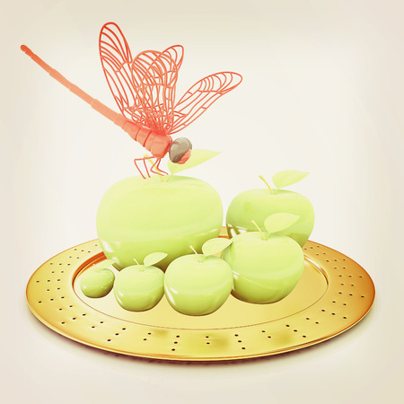 Dragonfly on apple on Serving dome or Cloche. Natural eating concept. 3D illustration. Vintage style.