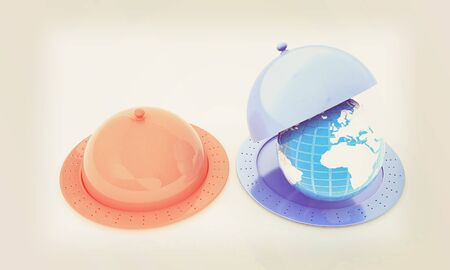 dome: Serving dome or Cloche and Earth. 3D illustration. Vintage style.