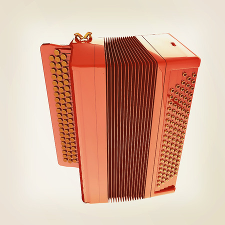 concertina: Musical icon instruments - bayan. 3D illustration. Vintage style.