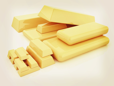 fake (mock) of gold bars. 3D illustration. Vintage style. Stock Photo