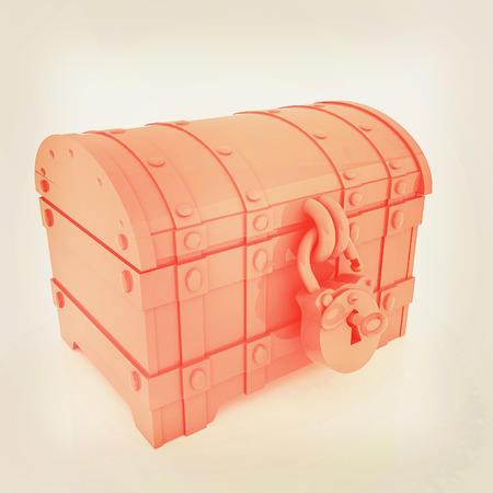 The chest. 3D illustration. Vintage style.