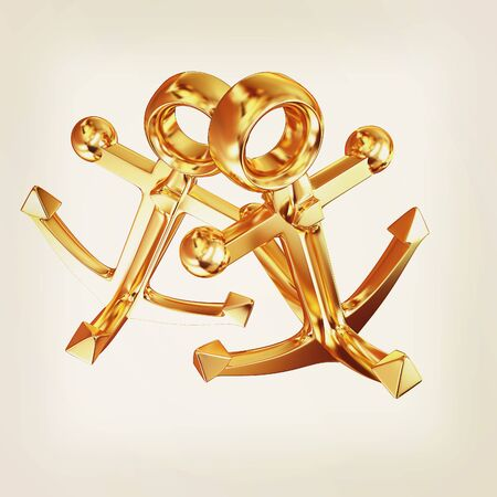 Gold anchors. 3D illustration. Vintage style.