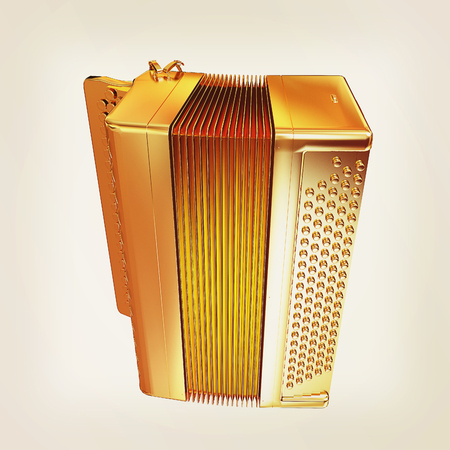 concertina: Musical gold icon instruments - bayan. 3D illustration. Vintage style.
