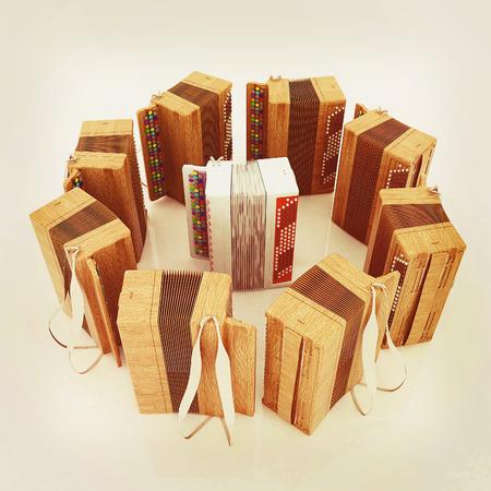 concertina: Musical instruments - retro bayans. 3D illustration. Vintage style.