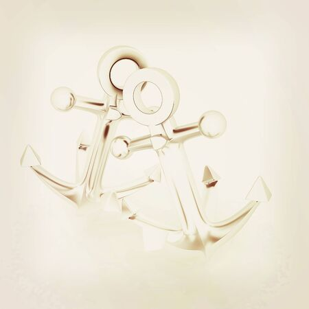 anchors. 3D illustration. Vintage style.