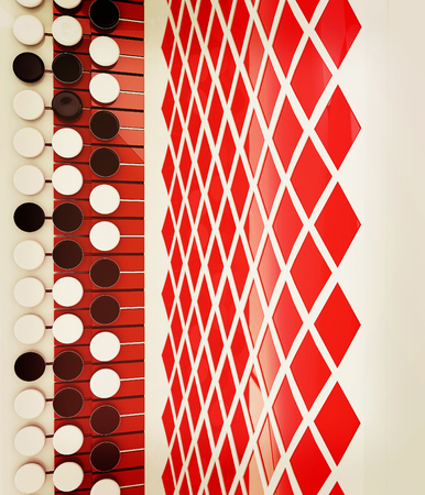 concertina: Musical instruments - bayan, close-up. 3D illustration. Vintage style.