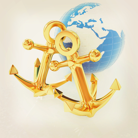 gold earth: Gold anchors and Earth. 3D illustration. Vintage style.