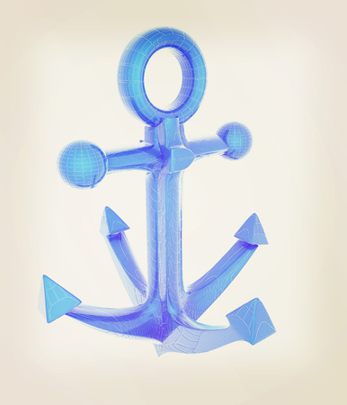anchor. 3D illustration. Vintage style.