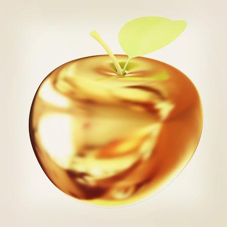 gilt: Gold apple. 3D illustration. Vintage style.