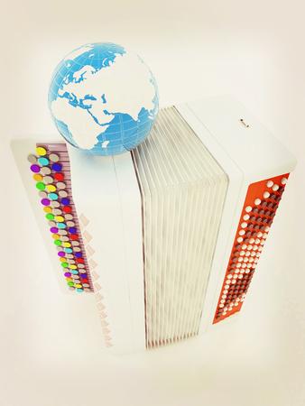 acordeon: instrumentos musicales - acordeón y la tierra. concepto musical global. Ilustración 3D. Estilo vintage.
