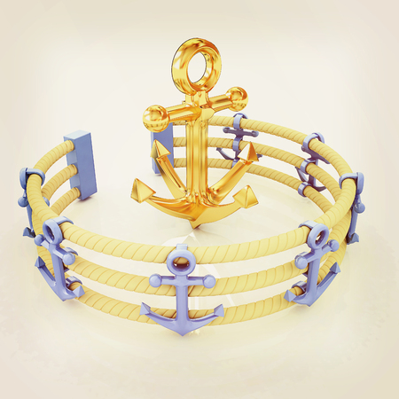 Design fence of anchors on the ropes and anchor in the center. 3D illustration. Vintage style.