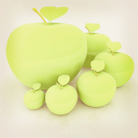smallest: One large apple and apples around - from the smallest to largest. Dieting concept. 3D illustration. Vintage style.