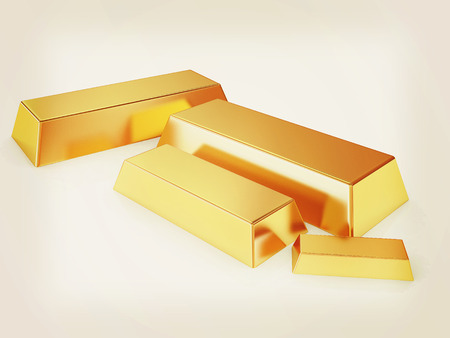 gold bars. 3D illustration. Vintage style. Stock Photo