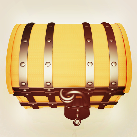 wooden insert: The chest. 3D illustration. Vintage style.