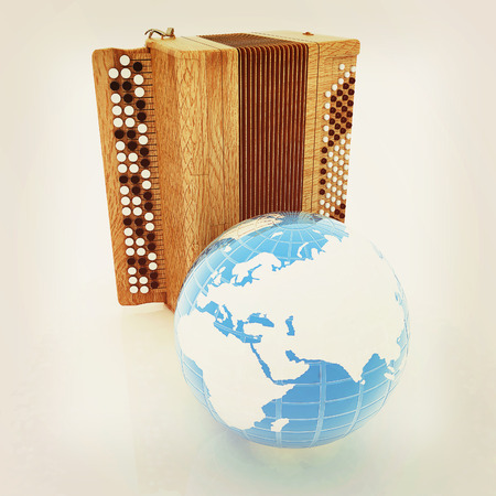 concertina: Musical instrument - retro bayan and Earth. 3D illustration. Vintage style.
