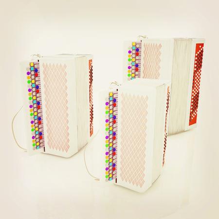 concertina: Musical instruments - bayans. 3D illustration. Vintage style.. 3D illustration. Vintage style.