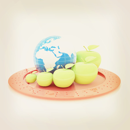 smallest: Earth and apples around - from the smallest to largest. Global dieting concept. 3D illustration. Vintage style. Stock Photo