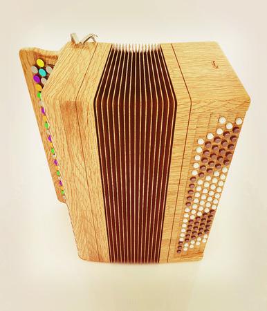 concertina: Musical instrument - retro bayan. 3D illustration. Vintage style.