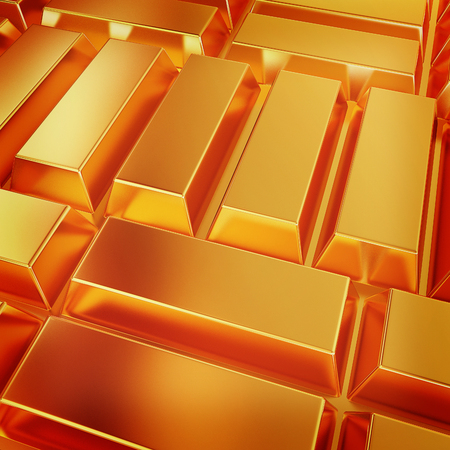 gold bars. 3D illustration. Vintage style. Stock Photo