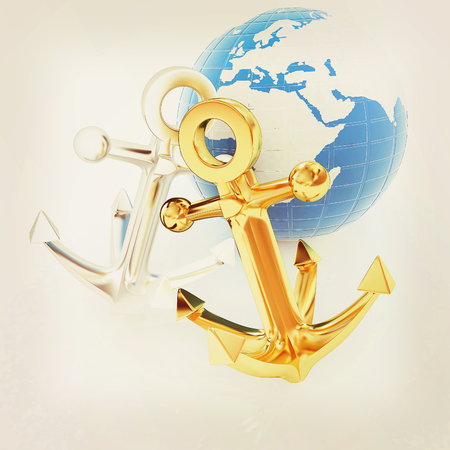 anchors and Earth. 3D illustration. Vintage style. Stock Photo