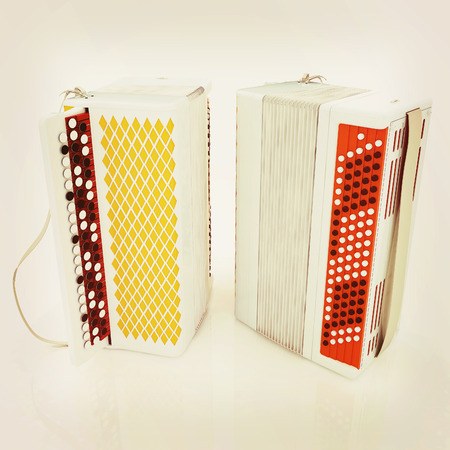 concertina: Musical instruments - bayans. 3D illustration. Vintage style.