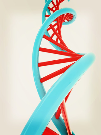 DNA structure model on white. 3D illustration. Vintage style.