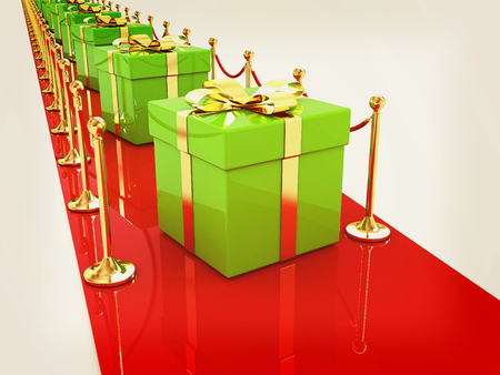 path to success: Beautiful Christmas gifts on New Years path to the success. 3D illustration. Vintage style.