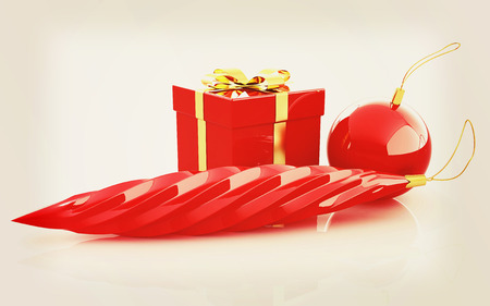 plaything: Beautiful Christmas gifts. 3D illustration. Vintage style. Stock Photo