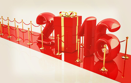 path to success: Happy new 2016 year on New Years path to the success. 3D illustration. Vintage style.