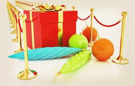 stanchion: Beautiful Christmas gifts. 3D illustration. Vintage style. Stock Photo
