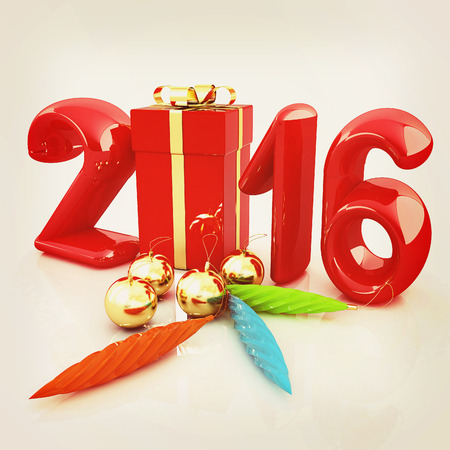 year 3d: Happy new 2016 year. 3D illustration. Vintage style.