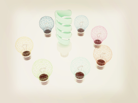 energysaving: energy-saving lamps. 3D illustration. 3D illustration. Vintage style.