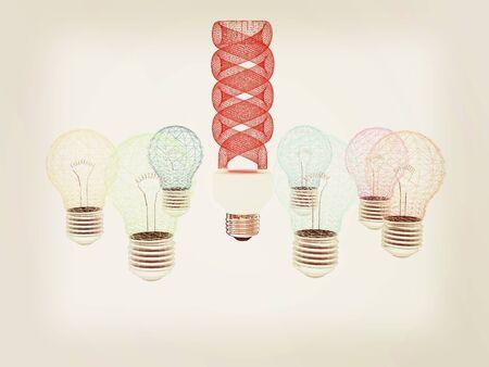 energy-saving lamps. 3D illustration. 3D illustration. Vintage style.