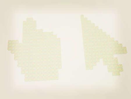 3d cursor: Set of Link selection computer mouse cursor on white background. 3D illustration. Vintage style.