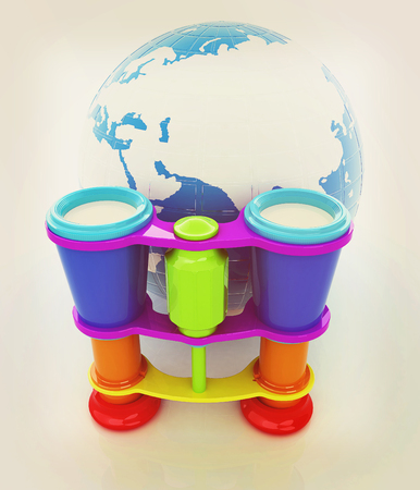 optical people person planet: Worldwide search concept with Earth. 3D illustration. Vintage style.