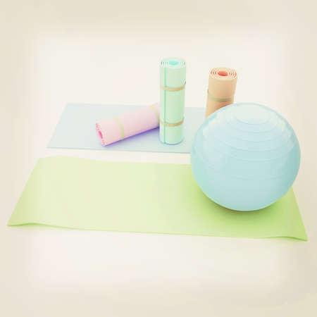 fitness ball: karemat and fitness ball. 3D illustration. 3D illustration. Vintage style.