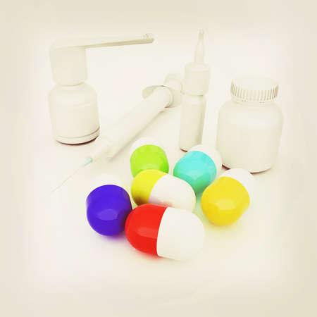 pill prescription: Syringe, tablet, pill jar. 3D illustration. 3D illustration. Vintage style.