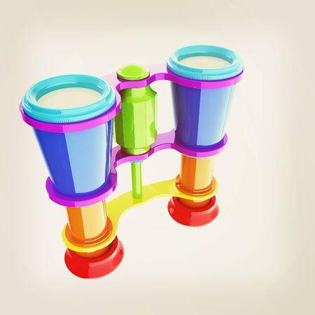binoculars. 3D illustration. Vintage style.