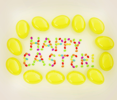 Easter eggs as a Happy Easter greeting on white background. 3D illustration. Vintage style. Stock Photo