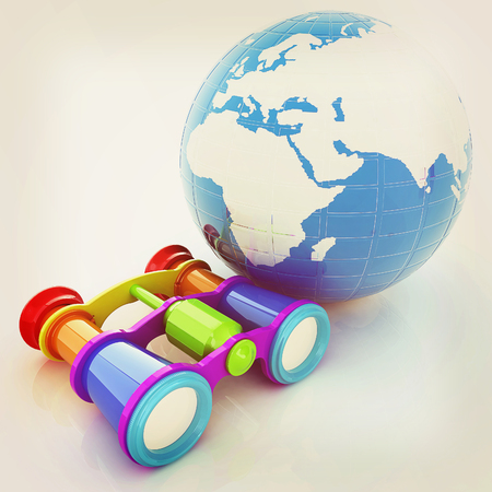 Worldwide search concept with Earth. 3D illustration. Vintage style.