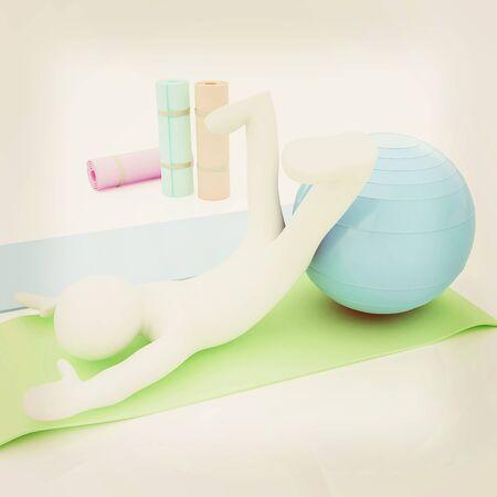 karemat: 3d man on a karemat with fitness ball. 3D illustration. 3D illustration. Vintage style.