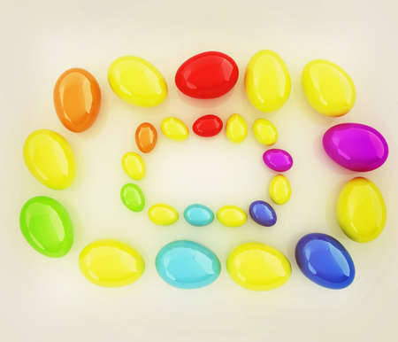 directly above: Colored Eggs on a white background. 3D illustration. Vintage style. Stock Photo