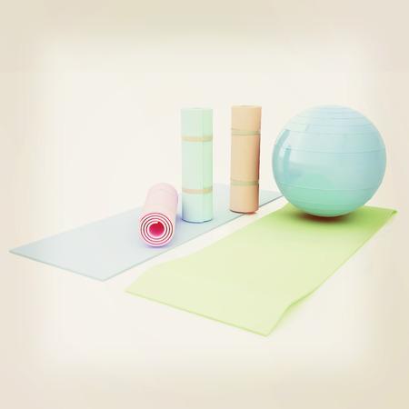 karemat: karemat and fitness ball. 3D illustration. 3D illustration. Vintage style.