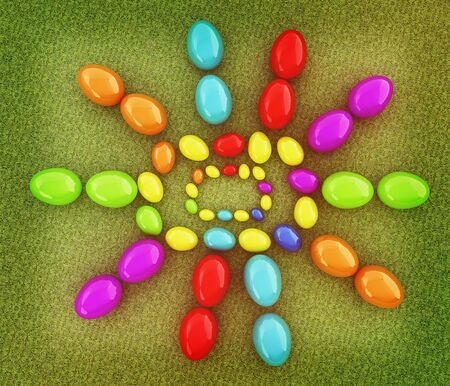 directly above: Easter eggs as a Happy Easter greeting on a green grass. 3D illustration. Vintage style.