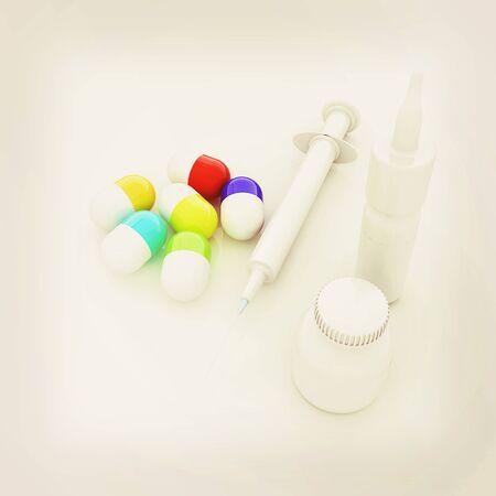 Syringe, tablet, pill jar. 3D illustration. 3D illustration. Vintage style.
