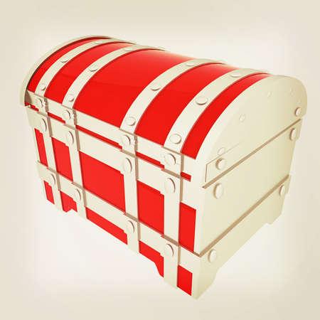 cartoon chest. 3D illustration. Vintage style.
