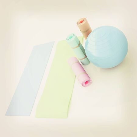 karemat and fitness ball. 3D illustration. 3D illustration. Vintage style.