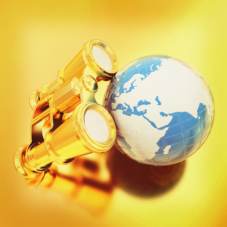 binocular around earth. 3D illustration. Vintage style.
