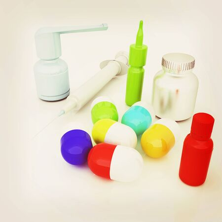 Syringe, tablet, pill jar. 3D illustration. 3D illustration. Vintage style.