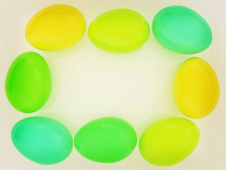 Colored Eggs on a white background. 3D illustration. Vintage style. Stock Photo